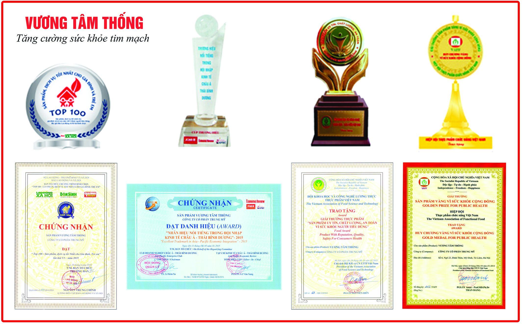 Những giải thưởng danh giá mà thực phẩm bảo vệ sức khỏe Vương Tâm Thống đạt được